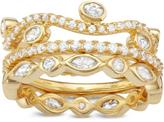 Tiara 2 4/9 CT TW Cubic Zirconia Yellow Gold-Plated Sterling Silver Stackable Ring Set