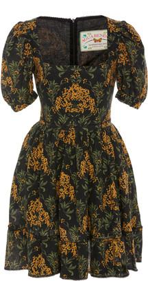 Agua Bendita Pomelo Floral-Print Linen Mini Dress