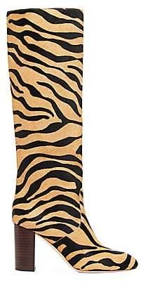 Loeffler Randall Women's Goldy Knee-High Tiger-Stripe Calf Hair Boots