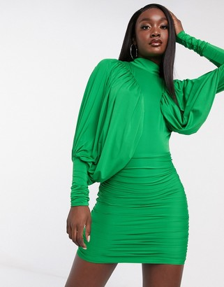 Rare London high neck batwing mini dress in green