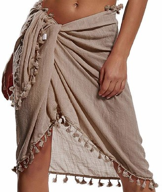 Voqeen Womens Fringe Swimsuit Beach Wrap Sarong Beach Scarf Cover Up Pareo with Tassel for Bikini Swimsuit Holiday Beach Wear Cover ups (White)