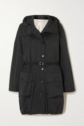 Marni Hooded Belted Woven Jacket - Black