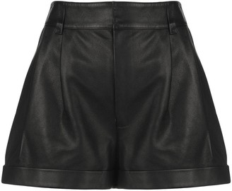 RE/DONE Pleated Leather Short Shorts