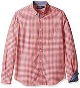 Nautica Men's Long Sleeve Classic Fit Color Ground Plaid Button Down Shirt