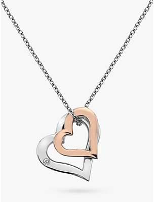 Hot Diamonds Double Heart Pendant Necklace, Silver/Rose Gold