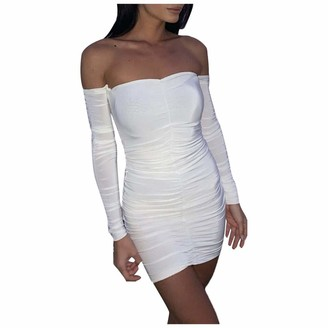 Your New Look Women's Sexy Off Shoulder Long Sleeve Mini Dress Solid Color Bandeau Dress Slim Pencil Dress for Club Party White