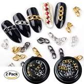 Bluezoo 2 Boxes/set Nail Art Decoration Chain Metal Gold Black Hollow Punk DIY Design 3D Tips Polish Jewelry Accessories Manicure Tool