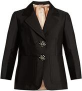 No.21 NO. 21 Button-embellished satin jacket
