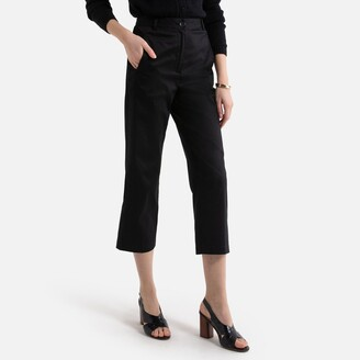 La Redoute Collections Cotton Satin Cropped Trousers