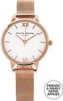 Olivia Burton White Midi Dial Mesh Watch