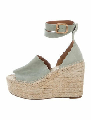 Chloé Suede Scalloped Accent Espadrilles Green