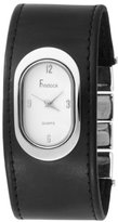 Freelook Women's HA1462 White Oval Dial Black leather Band Watch