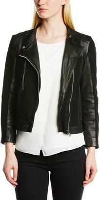 Minimum Women Babette Leather 3/4 Sleeve Jacket