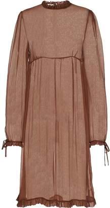 Miu Miu sheer frilled chiffon dress