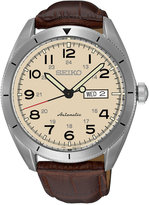 Seiko Men's Automatic Brown Leather Strap Watch 43mm SRP713