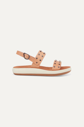 Ancient Greek Sandals Dinami Studded Leather And Suede Slingback Sandals - Neutral