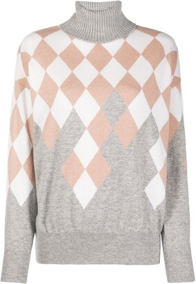 Ballantyne Argyle-detail turtleneck jumper