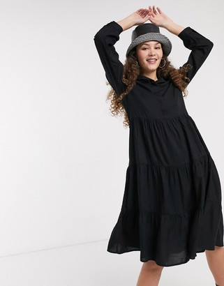 Monki Pearl long sleeve trapeze shirt dress in black
