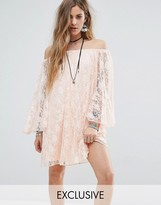 Reclaimed Vintage Inspired Off The Shoulder Swing Dress In Lace