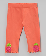 Mulberribush Apricot Flower Capri Pants - Toddler & Girls