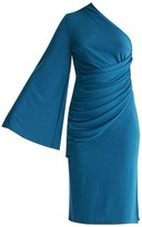 Paisie Draped One Shoulder Dress With Ruched Waist & Side Split In Turquoise