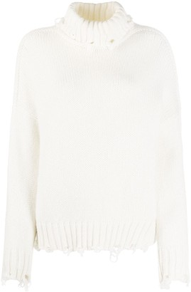 Maison Flaneur Distressed Roll-Neck Jumper