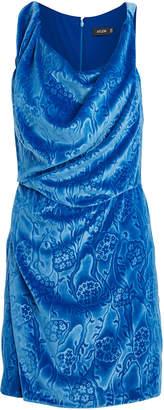 Atlein Ruched Embossed Velvet Dress