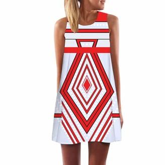 LOPILY A-Line Dress Women Vintage Boho Summer Sleeveless Beach Printed Short Mini Dress Red