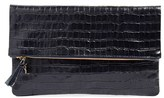 Clare Vivier Croc Embossed Leather Foldover Clutch - Blue