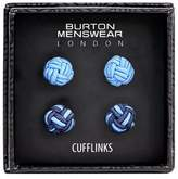 Burton Mens Blue Silk Knot Cufflinks