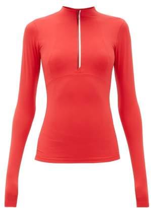 Vaara Ella Half Zip Long Sleeve Top - Womens - Red Multi