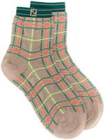 Fendi check patterned socks