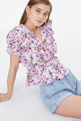 Forever 21 Ruffled Floral Wrap Top