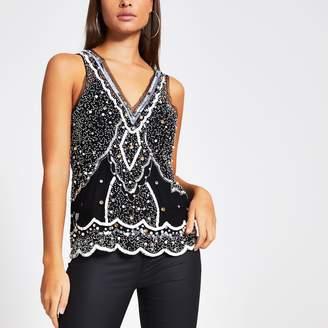 River Island Womens Black embellished V neck vest top