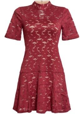 BCBGMAXAZRIA Lace Flounce-Hem Dress