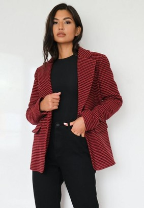 Missguided Houndstooth Boyfriend Blazer Coat