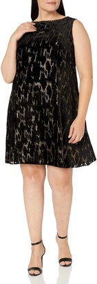 Tahari by Arthur S. Levine Women's Plus Size Slvless Metallic Velvet Burnout Dress
