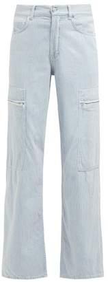 Ganni Denali Striped Jeans - Womens - Light Denim