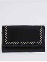 M&S Collection Faux Leather Twin Needle Purse