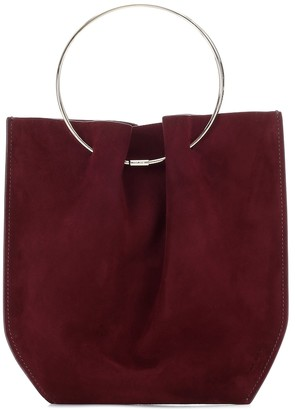 The Row Flat Micro Circle suede tote