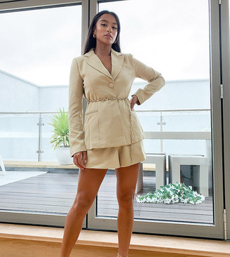 4th & Reckless Petite high waist tailored short with gold belt detail in pistachio