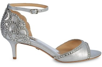 Badgley Mischka Gillian Metallic-Leather Peep-Toe Sandals