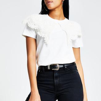 River Island Cream oversized lace collar T-shirt
