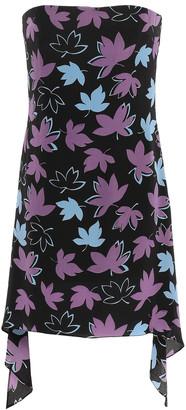 Versace Strapless Asymmetric Printed Silk Crepe De Chine Mini Dress