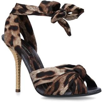 Dolce & Gabbana Leopard Print Keira Bow Sandals 105