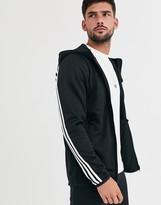 adidas Training three stripe hoodie in black