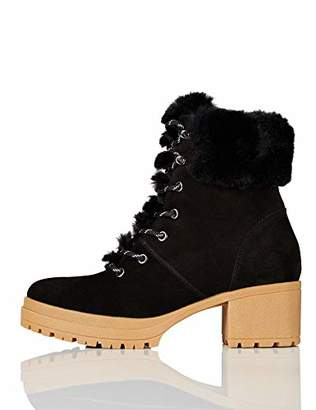 find. Mid Height Faux Fur Lace Up Ankle Boots, Black)