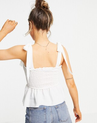 New Look shirred tie strap cami in off white