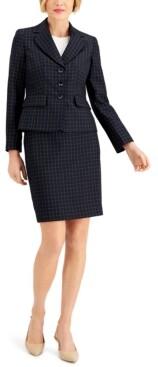 Le Suit Windowpane Three-Button Skirt Suit