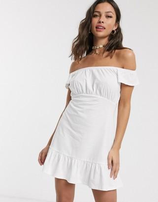 Asos DESIGN off shoulder mini sundress with pep hem in white